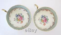 Vtg 1930s AYNSLEY Pair of 2 Tea Cup Saucer Set Pale Green Gold Floral Bone China