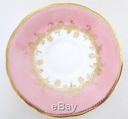 Vtg 1930s AYNSLEY Pair of 2 Tea Cup Saucer Set Pink Gold Rose Bone China England