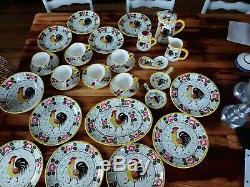 Vtg UCAGCO PY Colorful Rooster & Roses 30 pc set serving platter, bowl tea cups