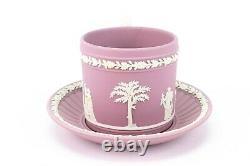 WEDGWOOD Tea Set Lilac Jasperware Teacup Saucer Dish Vintage Pink