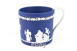 WEDGWOOD Tea Set Portland Blue Jasperware Teacup Saucer Dish Vintage