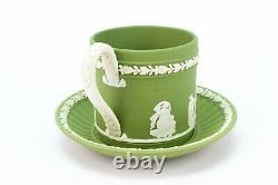WEDGWOOD Tea Set Sage Green Jasperware Teacup Saucer Dish Vintage