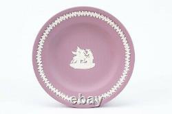 WEDGWOOD Tea Set Trio Lilac Jasperware Teacup Saucer Cake Plate Vintage Pink