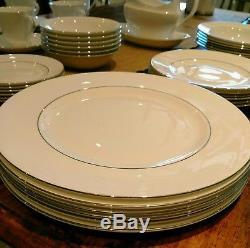 Wedgewood Signet Platinum Dinner Set White Tea cups Plates Bowls Gravy Cream Jug
