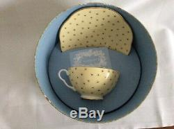 Wedgewood polka dot tea cup and saucer unused in box set of four