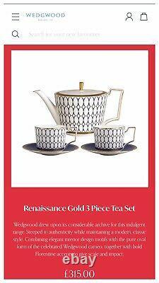 Wedgwood 5 Piece Teacup Set/Renaissance Gold/ Brand new with original gift box