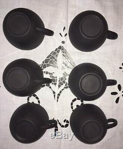 Wedgwood Basalt Black Matte 8 piece Cream Sugar Teacup Set-MINT