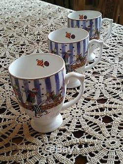 Wedgwood Circus Tea Cups Bone China Made in England 1998. Set of 8. NEVER USED