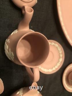 Wedgwood Jasperware Miniature Pink Tea Set Tray Cup Saucer Coffee Pot Plates