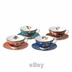 Wedgwood Paeonia Blush Teacup & Saucer Set of 4