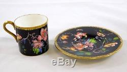 Wedgwood Swallows Black Flat Demitasse Tea Cup and Saucer Set Birds Flowers Rare