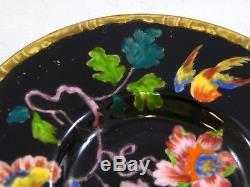 Wedgwood Swallows Black Flat Demitasse Tea Cup and Saucer Set Birds Flowers Rare