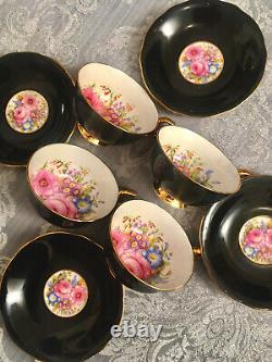 Windsor Bone China Tea Cups Teacups Saucers Set Pink Floating Cabbage Roses X8