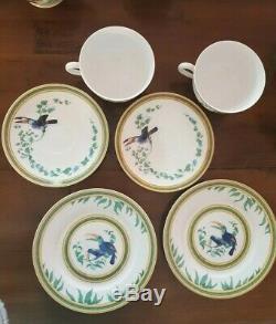 X2 Hermes Toucans 3 piece tea Set Cup/ Saucer/ Cake Plate
