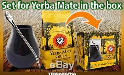Yerba Mate Tea GIFT SET BOX Big Mate Cup + Bombilla + Mate Green'Energy